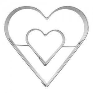 Pepparkaksform, centrerat dubbelhjärta