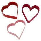 Kakformar hjärtan, set om 3