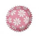 Små muffinsformar, rosa med blommor