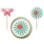 Muffinsformar med dekorationer - blommor & fjärilar