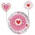Muffinsformar med dekorationer - hjärtan
