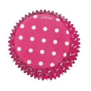 Muffinsformar, rosa med prickar