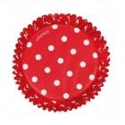 Muffinsformar, röda med prickar