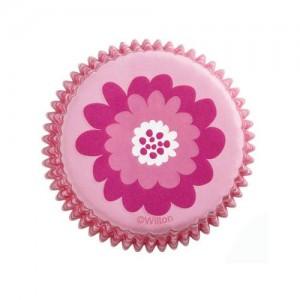 Muffinsformar, blommor i rosa