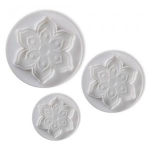 Sexbladiga blomutstickare med mönster, 3 st