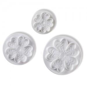 Fembladiga blomutstickare med mönster, 3 st