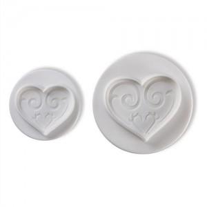 Utstickare - hjärtan med mönster, 2 st
